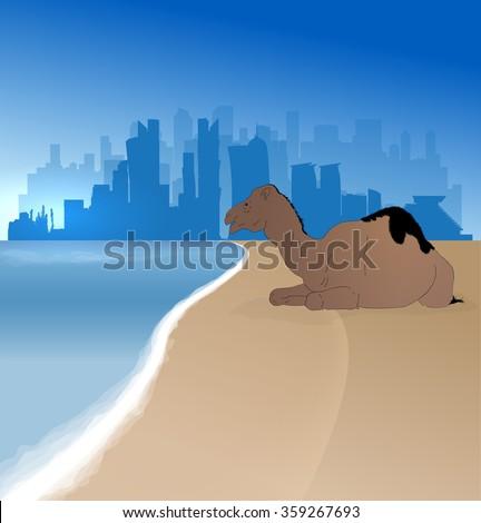 Doha vector silhouette skyline  with single camel - stock vector