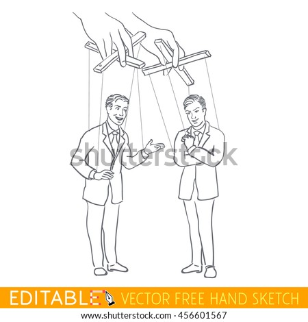 Doll puppet manipulation. Editable vector icon in linear style. - stock vector