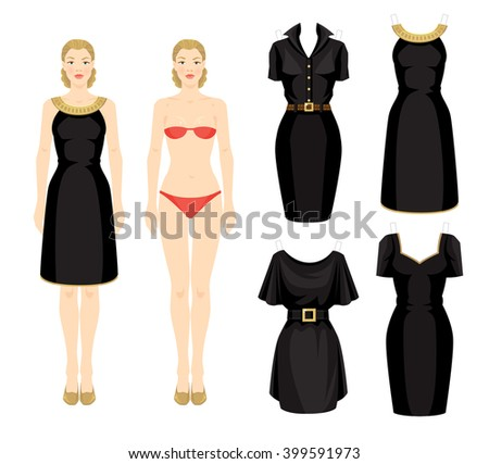 paper doll template woman - dress stock photos images pictures shutterstock