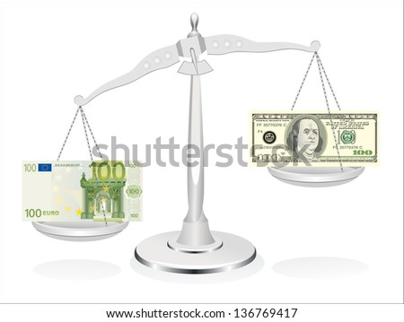 dollar and euro on scales isolated on white background - stock vector