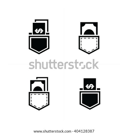 dollar bills in jeans pocket Icon design - stock vector