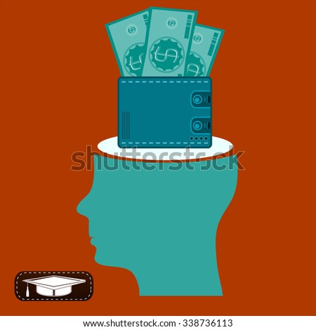 Dollar bills in your wallet in an open head. Keeping the money investment, wages, payments for goods in cash, thoughts about earnings. - stock vector