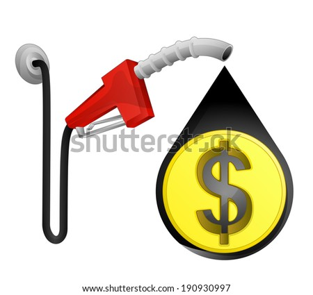 Dollar coin in oil drop with pump station vector illustration - stock vector