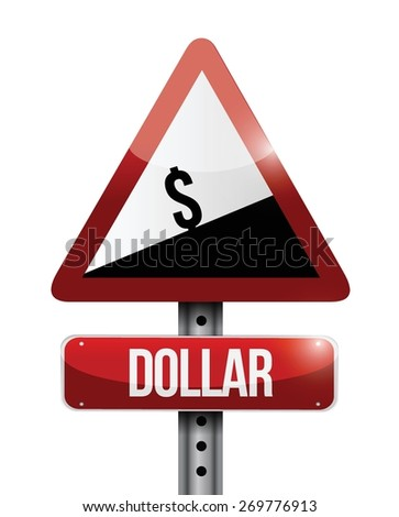 dollar currency price falling warning sign illustration design over white - stock vector