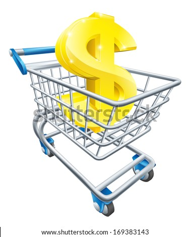 Dollar currency trolley concept of dollar sign in a supermarket shopping cart or trolley - stock vector