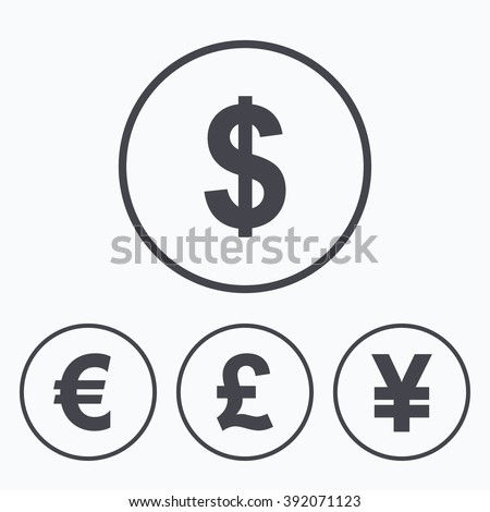 Dollar, Euro, Pound and Yen currency icons. USD, EUR, GBP and JPY money sign symbols. Icons in circles. - stock vector