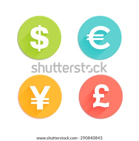 Dollar, euro, pound and yen currency vector signs with flat colored circle backdrops isolated on white background for app icon or website decoration - stock vector
