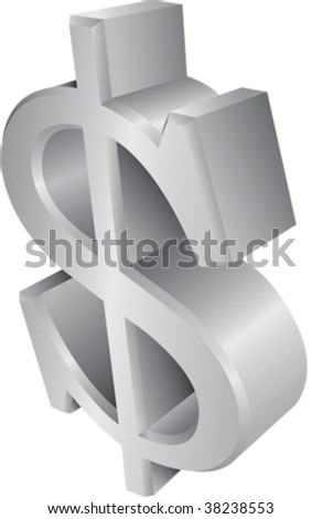 Dollar, Euro, Pound, Yen. Set of 4 currency 3d symbols. - stock vector