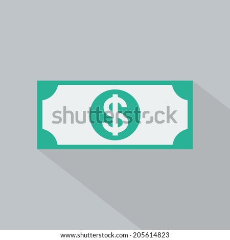Dollar icon , Flat design style, vector illustration. long shadow icon. - stock vector