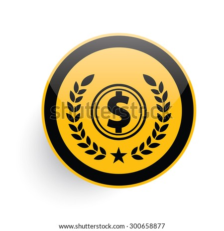 Dollar icon on yellow button background,clean vector - stock vector