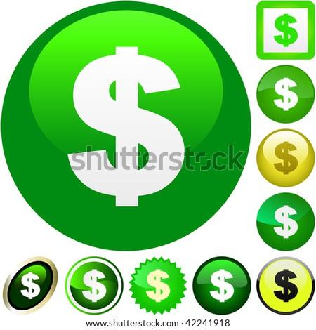 Dollar icon set. Vector collection. - stock vector