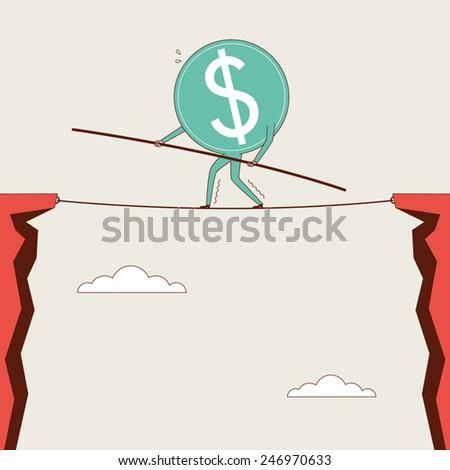 Dollar In Danger - stock vector