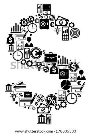 Dollar made from finance icons - stock vector