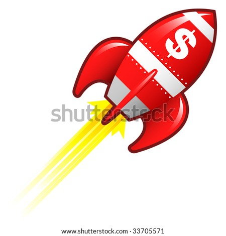 Dollar sign currency symbol on red retro rocket ship illustration good for use as a button, in print materials, or in advertisements. - stock vector