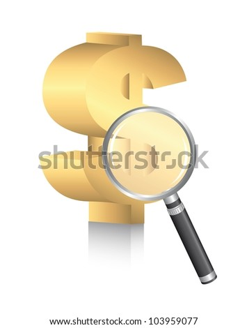 dollar sign with magnifying glass over white background. vector - stock vector