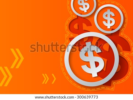 Dollar Signs and Arrows on Orange Background, Vector Illustration - stock vector