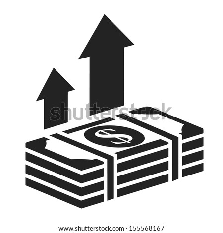 dollar stack black icon. money growth concept vector illustration - stock vector