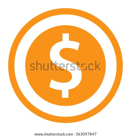 Dollar symbol in flat design. Currency round icon in vector illustration. - stock vector