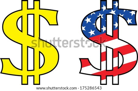 dollar symbol painted in the colors of united states of america. - stock vector