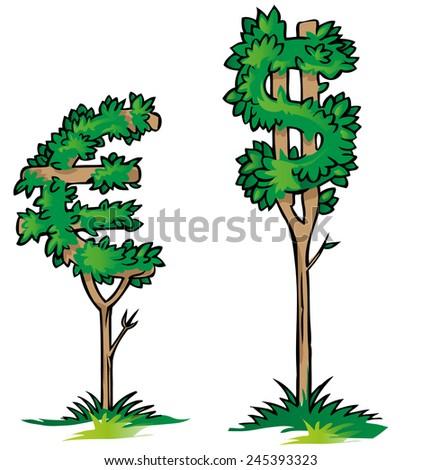 dollar versus euro on tree isolated - stock vector