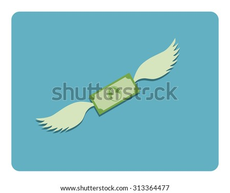 dollar wings abstract icon - stock vector