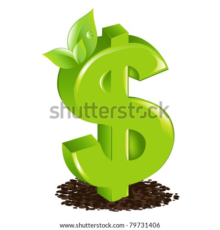 Dollar With Sprout, Isolated On White Background, Vector Illustration - stock vector