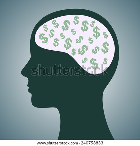 Dollars in Head - stock vector
