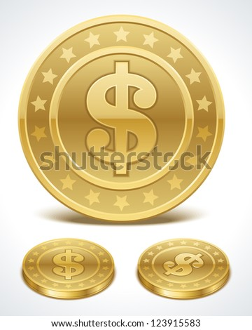 Dollars money coin in perspective vector design elements - stock vector