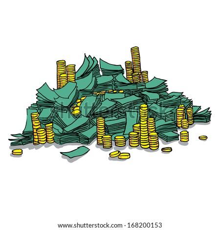 Dollars. Pile from packs of money. Vector - stock vector
