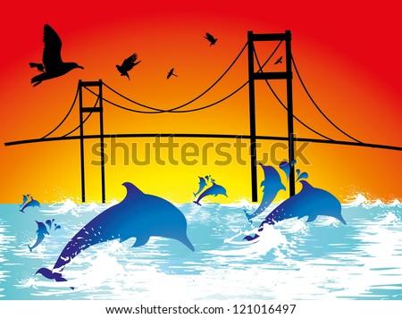 dolphin and bridge - stock vector