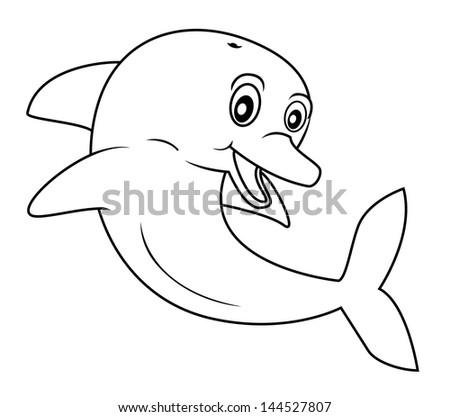 dolphin cartoon - stock vector