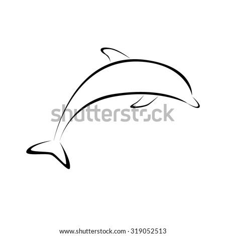 dolphin icon vector - stock vector
