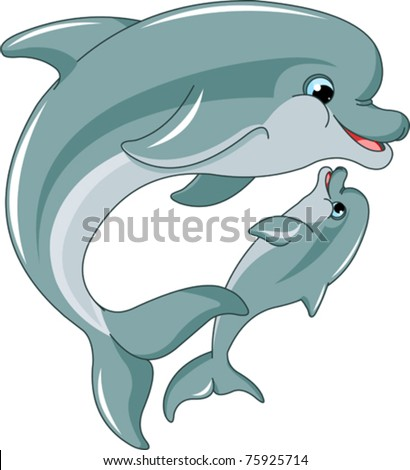 Dolphin mother and baby isolated on white background - stock vector