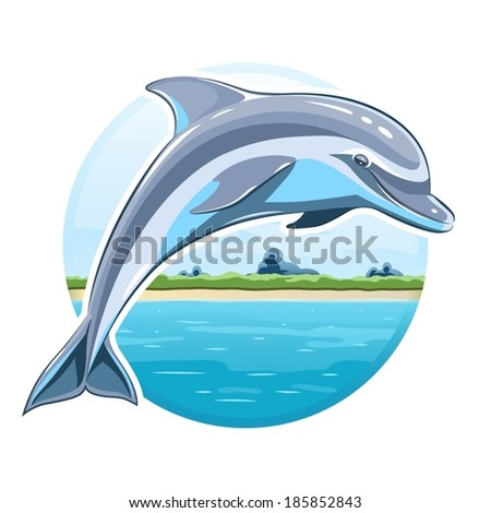 Dolphin on sea background. Eps8 vector illustration. Isolated on white background - stock vector
