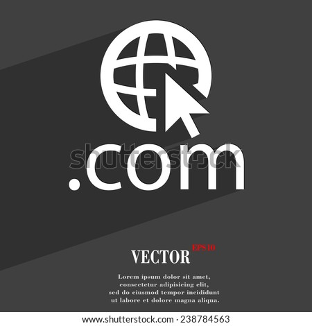 Domain COM icon symbol Flat modern web design with long shadow and space for your text. Vector illustration - stock vector
