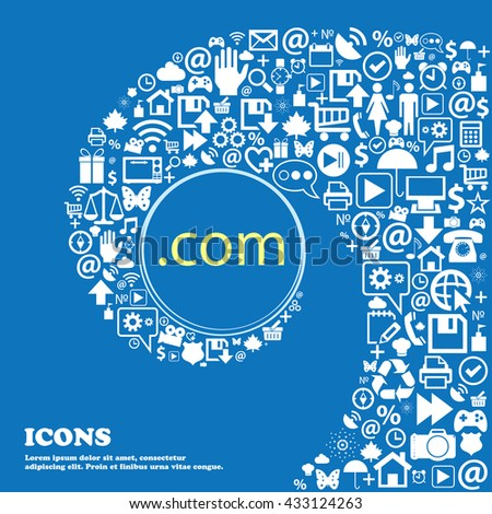 Domain COM sign icon. Top-level internet domain symbol . Nice set of beautiful icons twisted spiral into the center of one large icon. Vector illustration - stock vector