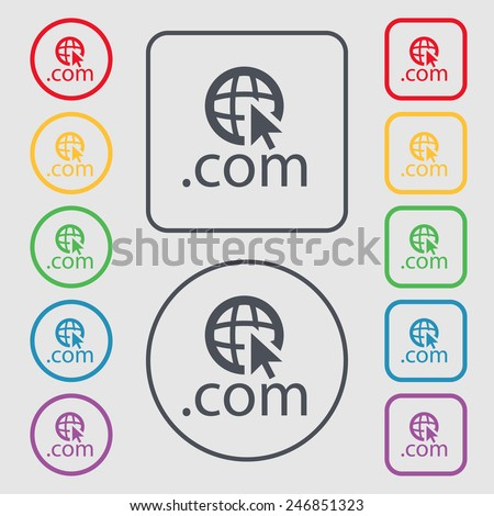 Domain COM sign icon. Top-level internet domain symbol.Set of colored buttons. Vector illustration - stock vector