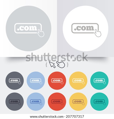 Domain COM sign icon. Top-level internet domain symbol with hand pointer. Round 12 circle buttons. Shadow. Hand cursor pointer. Vector - stock vector