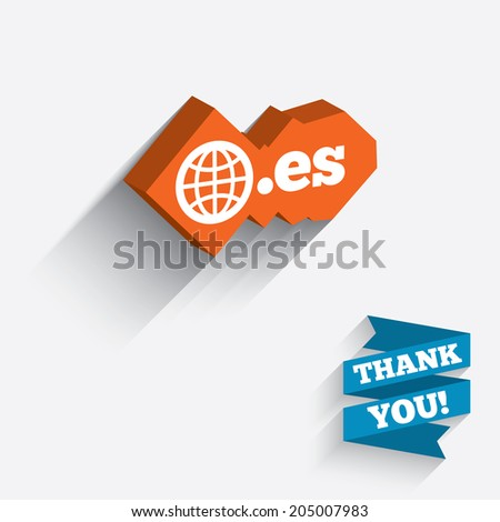 Domain ES sign icon. Top-level internet domain symbol with globe. White icon on orange 3D piece of wall. Carved in stone with long flat shadow. Vector - stock vector