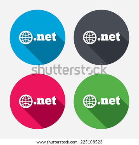 Domain NET sign icon. Top-level internet domain symbol with globe. Circle buttons with long shadow. 4 icons set. Vector - stock vector