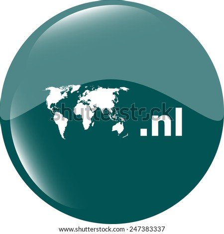 Domain NL sign icon. Top-level internet domain symbol with world map - stock vector