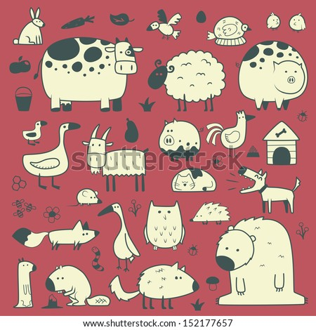 domestic and forest animals - stock vector