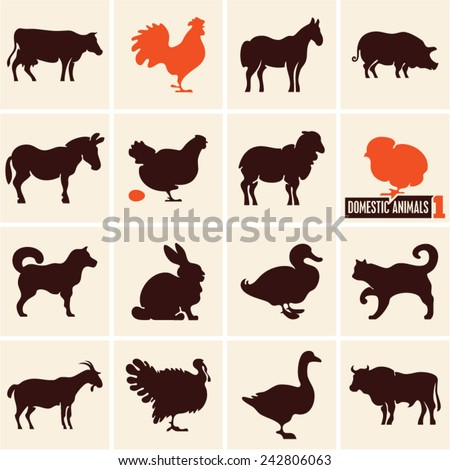 Domestic animals. Farm animals. Animals icons. - stock vector