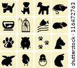 Domestic animals icons - stock vector