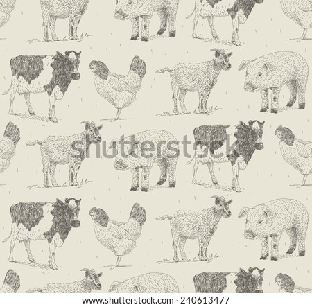 Domestic animals vector drawings seamless pattern with goat, cow,pig and chicken  - stock vector