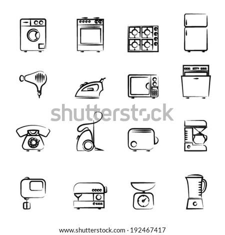Domestic appliances icons outline set vector illustration design elements. - stock vector