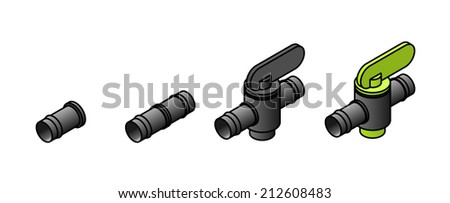 Domestic poly pipe irrigation / reticulation accessories / parts. 13mm plug, join and inline taps. - stock vector