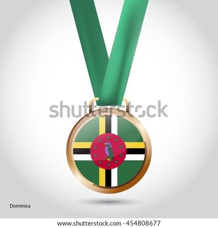 Dominica Flag in Bronze Medal. Olympic Game Bronze Medal. Vector Illustration - stock vector