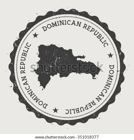 Dominican Republic. Hipster round rubber stamp with Dominican Republic map. Vintage passport stamp with circular text and stars, vector illustration - stock vector