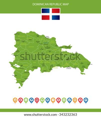 Dominican Republic Map - stock vector